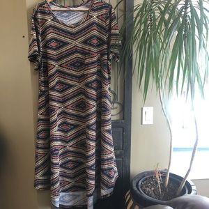 LuLaRoe Tribal Print Carly Dress W/ Pocket PS 3X